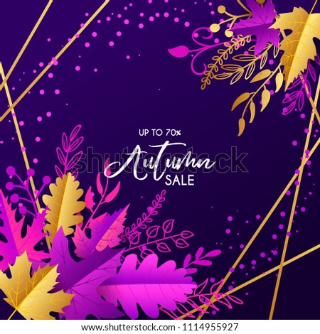 Vector autumn sale banner with hand drawn lettering and leaves. Design template for banner, flyer, poster, menu, tag, promotion. Vector illustration, purple, gold, orange. #1114955927