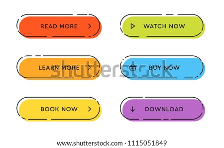Set of vector modern trendy flat buttons. Different colors of main shapes and icons with black outline frames. Royalty-Free Stock Photo #1115051849