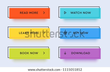 Set of vector modern trendy flat buttons. Different colors of main shapes and icons with black outline frames. Royalty-Free Stock Photo #1115051852