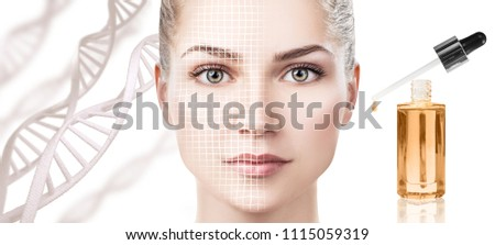 Cosmetic primer oil applying on woman face over dna background. Beauty therapy concept. #1115059319