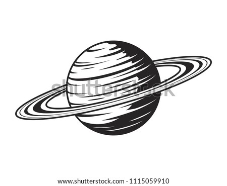 Vintage saturn planet concept in monochrome style isolated vector illustration