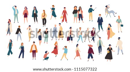 Crowd of tiny people wearing stylish clothes. Fashionable men and women at fashion week. Group of male and female cartoon characters dressed in trendy clothing. Flat colorful vector illustration. #1115077322