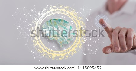 Man touching an intelligence concept on a touch screen with his finger #1115095652