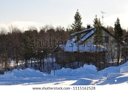 Houses, trees and snow #1115162528