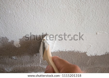 hand worker paint wall house white color #1115201318