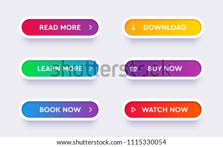 Set of vector modern material style buttons. Different gradient colors and icons on white forms with shadows. Royalty-Free Stock Photo #1115330054