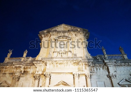 Buildings architecture details at Dubrovnik old city in Croatia in night time                        #1115365547