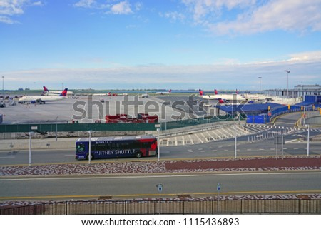 NEW YORK -6 JUN 2018- View of the outside of Terminal 2 at the John F. Kennedy International Airport (JFK).  #1115436893