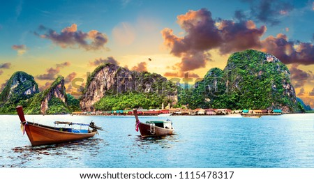 Scenic Phuket landscape. Seascape and paradisiacal and idyllic beach. Scenery Thailand sea and island .Adventures and exotic travel concept #1115478317