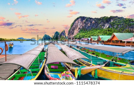 Scenic Phuket landscape. Seascape and paradisiacal and idyllic beach. Scenery Thailand sea and island .Adventures and exotic travel concept #1115478374