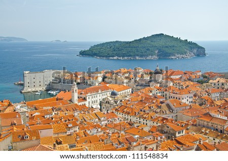view on old center of Dubrovnik city and Church, Croatia #111548834
