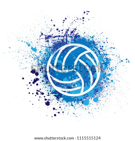 White grunge volleyball ball with blue ink blots and splashes isolated on white background