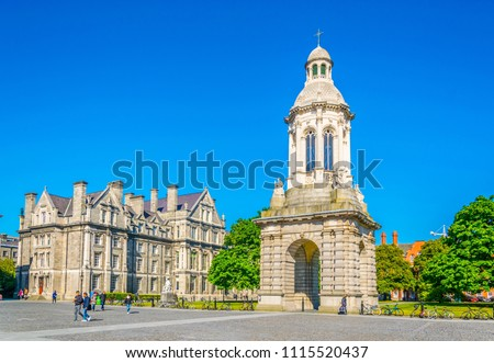Campanile inside of the trinity college campus in Dublin, ireland #1115520437