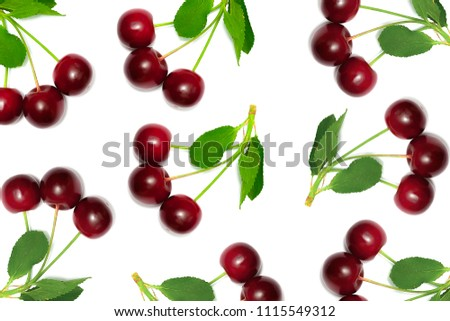 Many cherries on a white background #1115549312