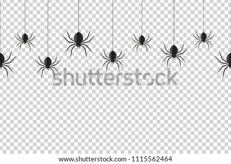 Vector realistic isolated seamless pattern with hanging spiders for decoration and covering on the transparent background. Creepy background for Halloween.