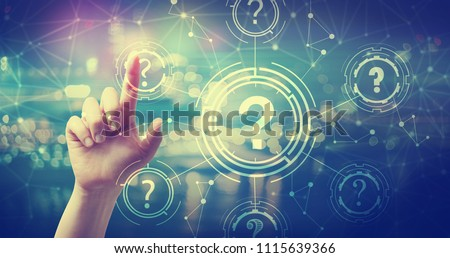 Question Marks with hand pressing a button at night #1115639366