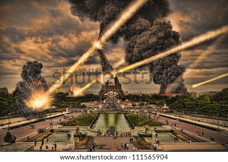 Meteorite shower over paris, destroying the Eiffel Tower Royalty-Free Stock Photo #111565904