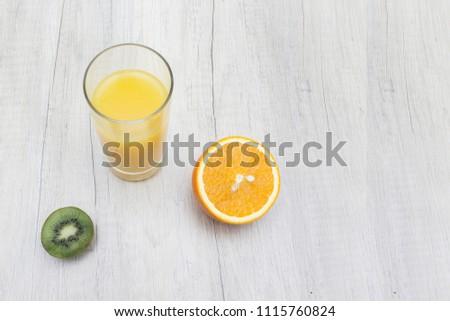 orange juice kiwi place for text copy space food photo #1115760824