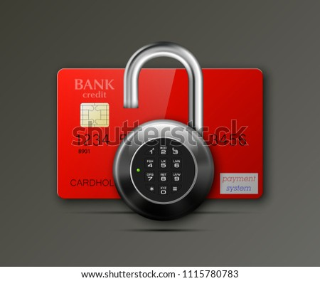 Credit card safe combination lock. Protection credit card. Safety badge banking. Defense finans. Security Plastic card software. Debit card electromagnetic chip Privacy Electronic money funds transfer #1115780783