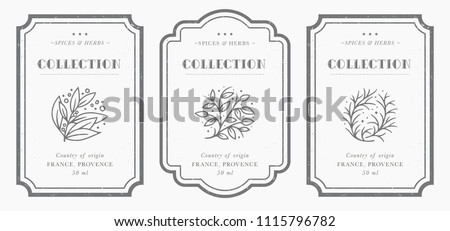 Customizable black and white Pantry label collection. Vintage packaging design templates for Herbs and Spices, dried fruit, vegetables, nuts etc Royalty-Free Stock Photo #1115796782