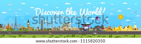 Discover the World poster with famous attractions illustration. Taj Mahal, Todaydzi, Sagrada Familia, Chichen Itza pyramid, Empire State Building and other. Tour guide for traveling agency #1115820350