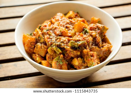 Mushroom vindaloo is a easy and simple, super spicy, hot curry from Goa. #1115843735