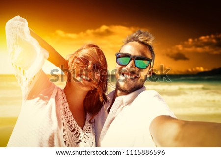 Summer time on beach and two lovers. Mood photo of sunet time.  #1115886596