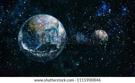 Earth, galaxy and sun. Elements of this image furnished by NASA. #1115900846