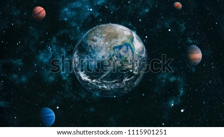 Earth, galaxy and sun. Elements of this image furnished by NASA. #1115901251