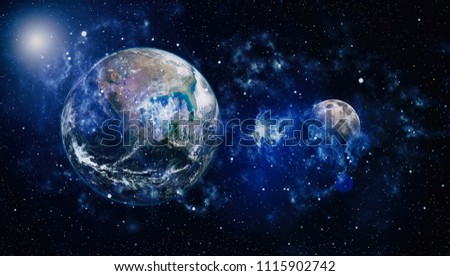 Earth and galaxy. Elements of this image furnished by NASA. #1115902742