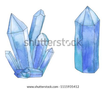 Watercolor color crystal #1115935412