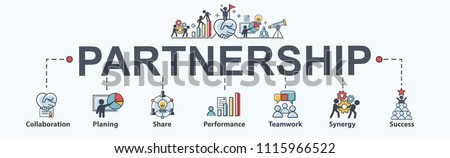 Partnership banner web icon for business consult, collabarate, teamwork, shares idea, performance, brainstorm and success. Minimal vector infographic. #1115966522