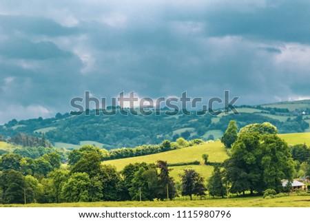 A view of the farmland inside Dartmoor National Park, Devon, United Kingdom #1115980796