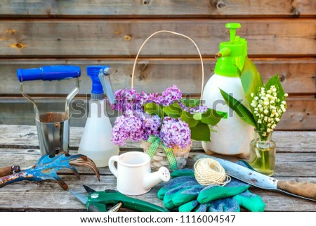 Gardening tools, watering can, shovel, spade, pruner, rake, glove, lilac, lily of the valley flowers on vintage wooden table. Spring or summer in garden, eco, nature, horticulture hobby concept #1116004547
