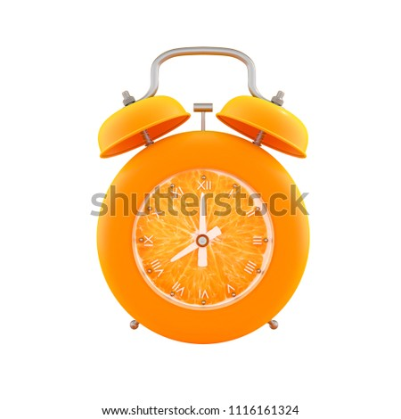 Orange alarm clock isolated with clipping path on white background, 3d render. #1116161324