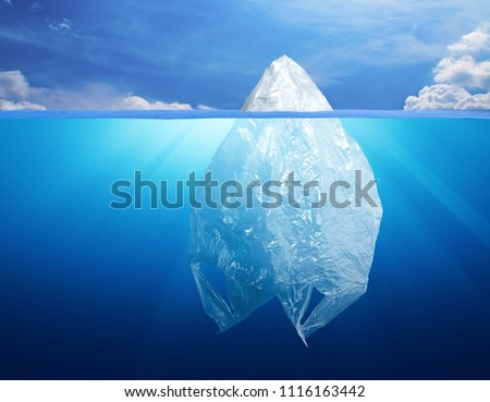 plastic bag environment pollution with iceberg #1116163442