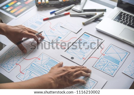 ux Graphic designer creative  sketch planning application process development prototype wireframe for web mobile phone . User experience concept. #1116210002