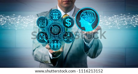 Unrecognizable business manager scaling up sales and marketing via artificial intelligence app. B2B technology concept for machine and deep learning, AI, complex IT ecosystem, lead generation. #1116213152