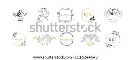 Wedding logos, hand drawn elegant, delicate monogram collection Royalty-Free Stock Photo #1116244643