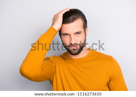 People healthy hair person leader success concept. Close up portrait of attractive virile masculine handsome stylish trendy macho brutal guy combing long furfur isolated on gray background #1116273650