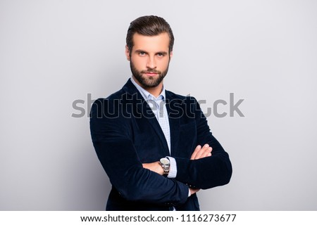 Portrait of cool handsome attractive virile masculine elegant classy elegant stunning dressed in dark blue velvet blazer checkered shirt standing with crossed arms isolated gray background copy-space #1116273677