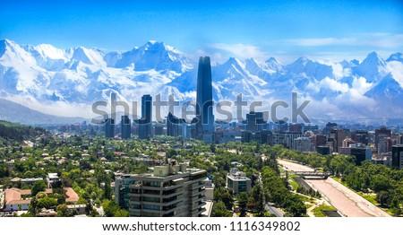 Santiago white cityscape #1116349802