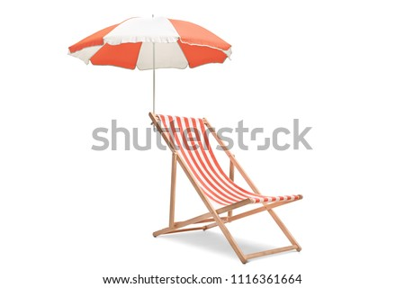 Deck chair with an umbrella isolated on white background Royalty-Free Stock Photo #1116361664