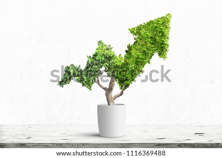Potted green plant grows up in arrow shape over blue background. Concept business image #1116369488