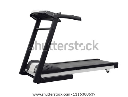 sporty treadmill isolated on white background #1116380639