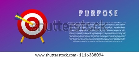 Purpose. The arrow in the target. Vector illustration. Flat. Gradient. #1116388094