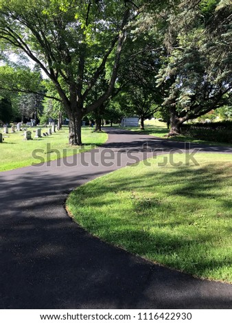 Schenectady City, New York, USA - 19 June 2018 : Park view Cemetery, park and cemetery background  #1116422930