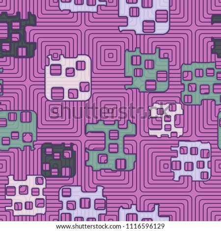 Seamless abstract color pattern. Texture in camouflage style. Rounded squares with holes. In the background, a grid composed of concentric elements. #1116596129