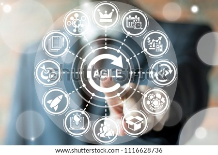 Businessman clicks a agile word with circle arrow surrounded by specific icons. Agile Life Cycle Business concept. Agility Development. #1116628736