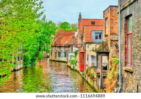 Traditional houses in Bruges - West Flanders, Belgium #1116694889